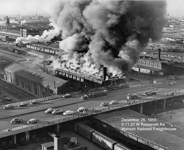 Industrial history wabash 39 s 1955 freight house fire for Facts about house fires