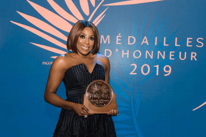 Nigerian media mogul Mo Abudu receives 2019 Médailles d'Honneur at MIPtv in Cannes.