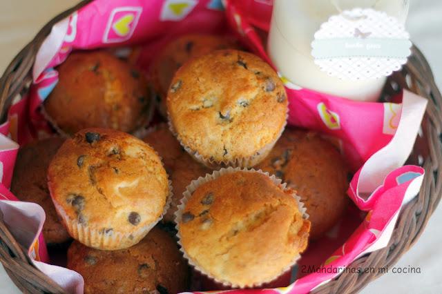 receta de muffins de platano y chocolate