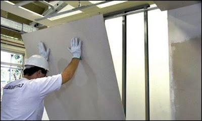 colocando placa Drywall