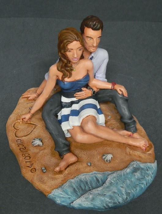 fidanzati statuette regalo fidanzata al mare spiaggia orme magiche