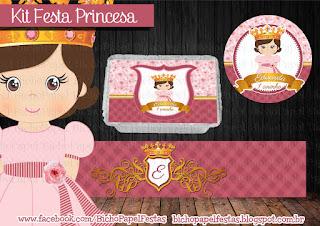 kit festa princesa coroa rosa