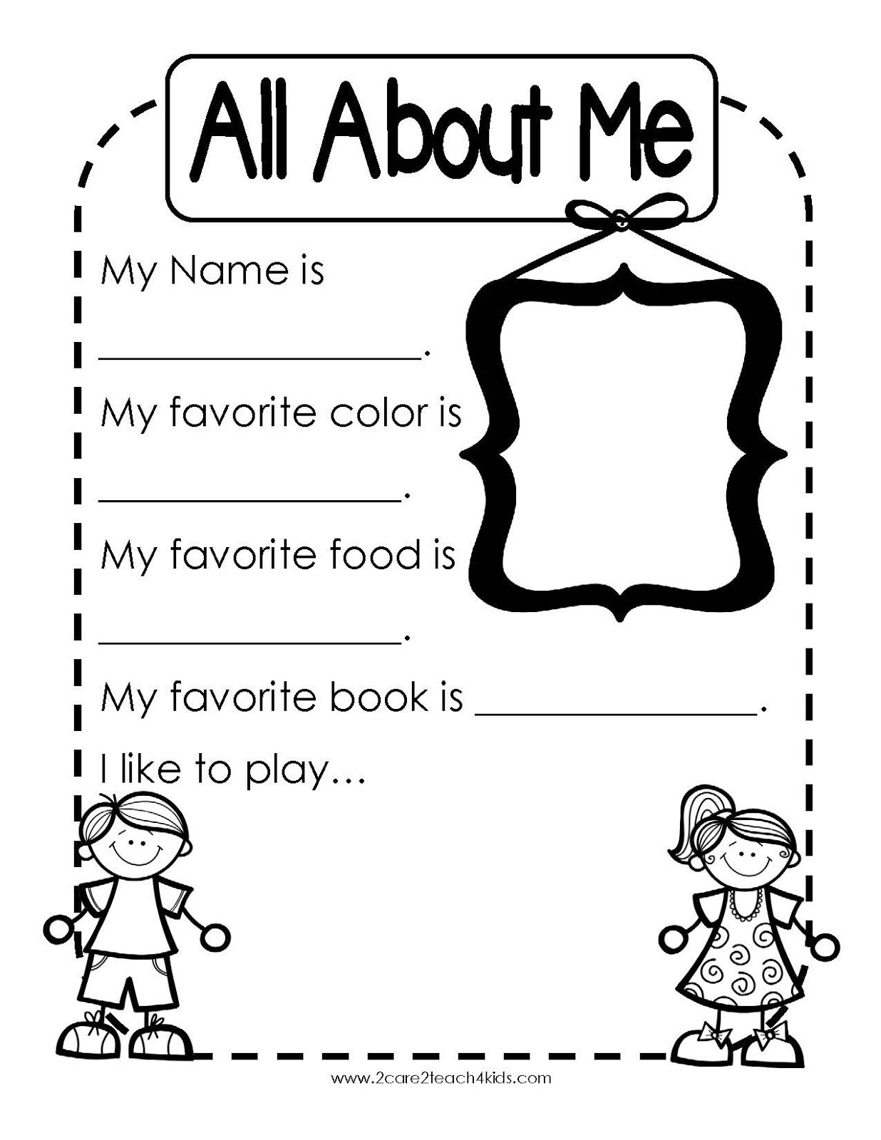 2care2teach4kids Back To School Using Portfolio S And A Free All About Me Page Amp My Family Page