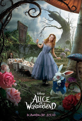 'Alice in Wonderland' poster showing Alice under a giant toadstool, White Rabbit in front of her, long table set for tea behind