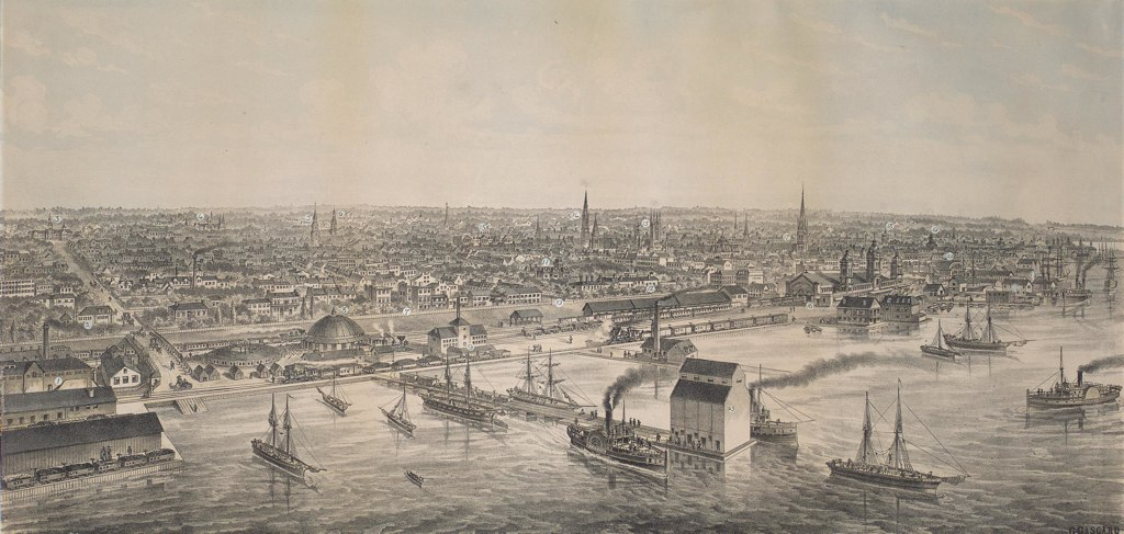 1876 Bird's Eye View of Toronto from the Northern Railway Elevator, lithograph by G. Gascard