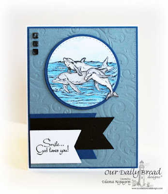Diana Nguyen, Our Daily Bread Designs, Under the Sea, dolphin, nautical, card