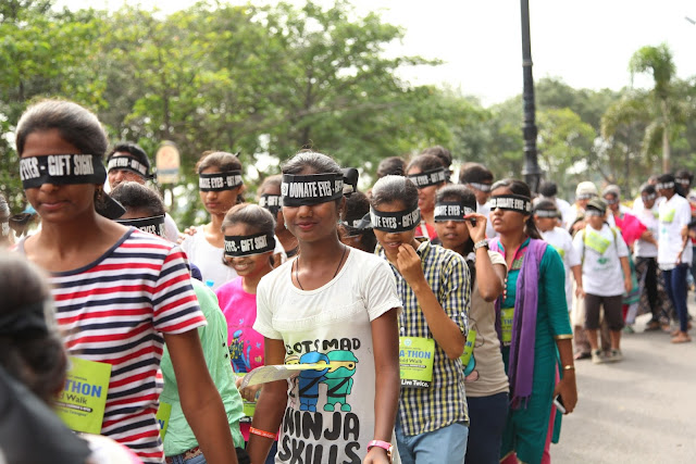 'Sight-A-Thon' blindfold 2k walk held in Hyderabad