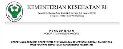Penerimaan CPNS 2016 Lingkungan Pemda Untuk PTT Kementerian Kesehatan RI