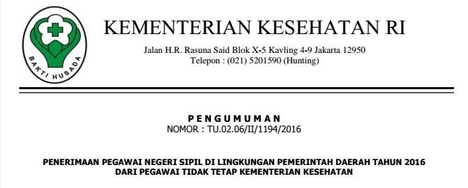 Penerimaan CPNS Kementerian Kesehatan RI 2016 Untuk PTT Lingkungan Pemda