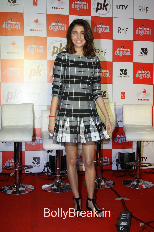 Anushka Sharma Photoshoot Stills, Anushka Sharma Hot Pics In check dress from PK Mobile Game Launch
