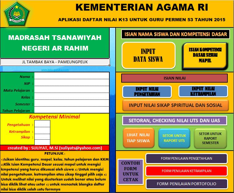 Download Master Aplikasi Pengolahan Daftar Nilai dan Raport Kurikulum 2013