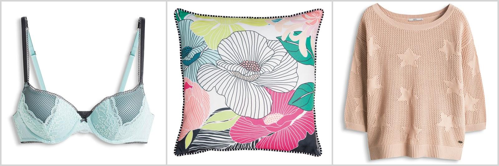 spring esprit wishlist pastel lingerie floral print cushion dusky pink star sweater