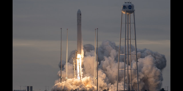 The Orbital ATK Antares rocket, with the Cygnus spacecraft onboard, launches from Pad-0A, Sunday, Nov. 12, 2017 at NASA's Wallops Flight Facility in Virginia. Orbital ATK's eighth contracted cargo resupply mission with NASA to the International Space Station will deliver approximately 7,400 pounds of science and research, crew supplies and vehicle hardware to the orbital laboratory and its crew. Photo Credit: (NASA/Bill Ingalls)