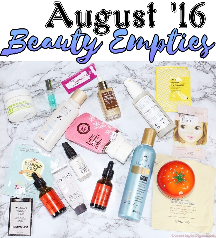 Beauty product empties for August 2016 and quick impressions.