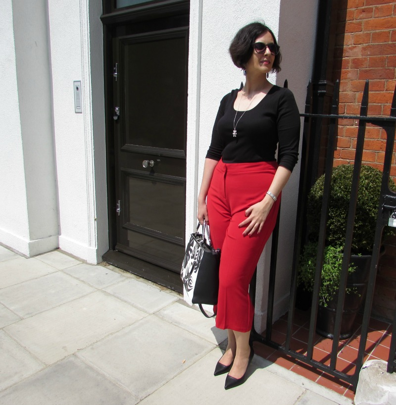 Smart casual look with red culottes