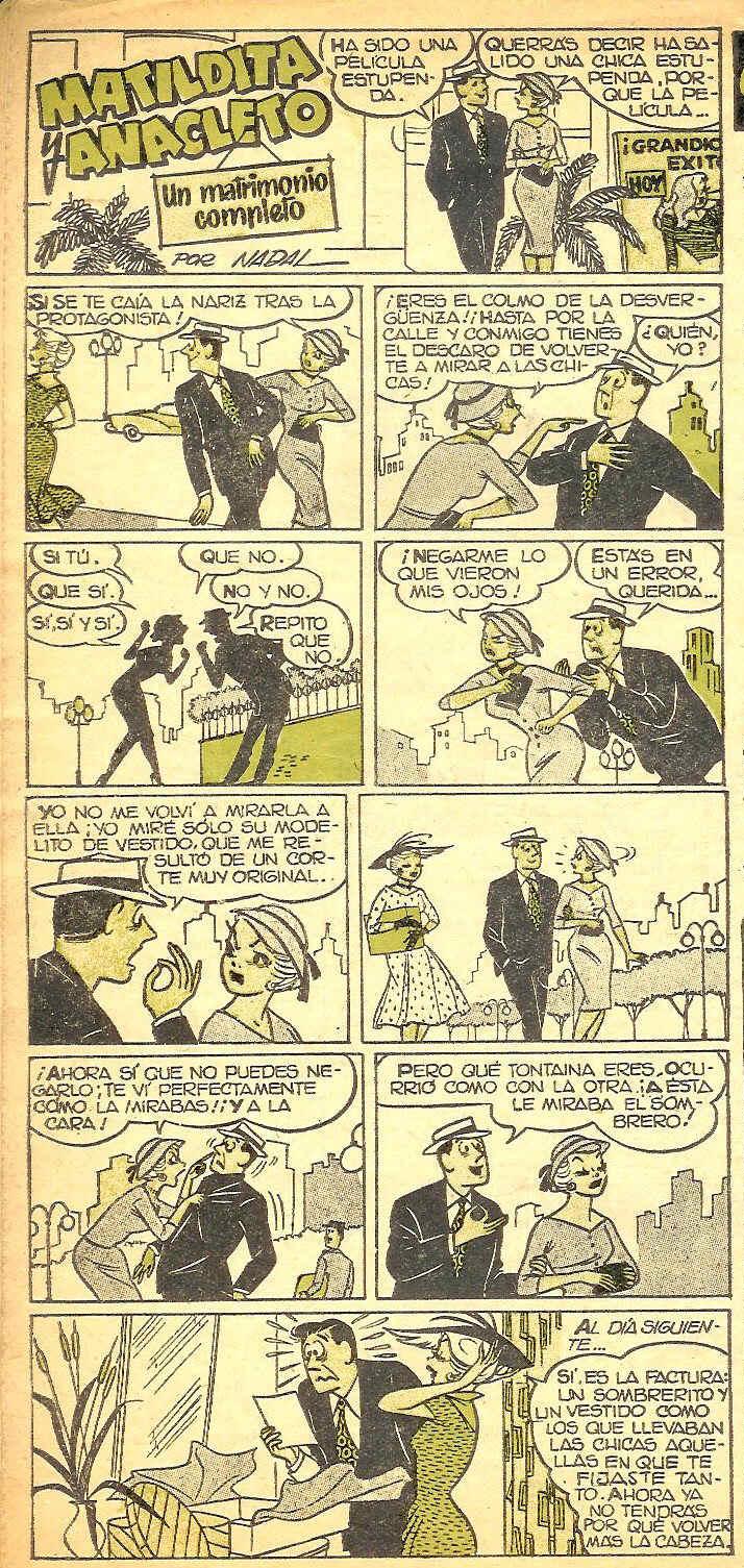 Pagina de Matildita y Anacleto Can Can nº 0 Bruguera dibujada por Angel Nadal Quirch