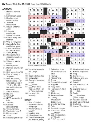 The New York Times Crossword in Gothic: 10.03.12 — High / Tail