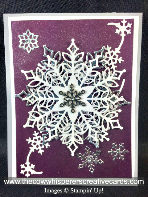 Card, Snowfall Thinlits, Shimmer Paint, Snowflake Trinkets