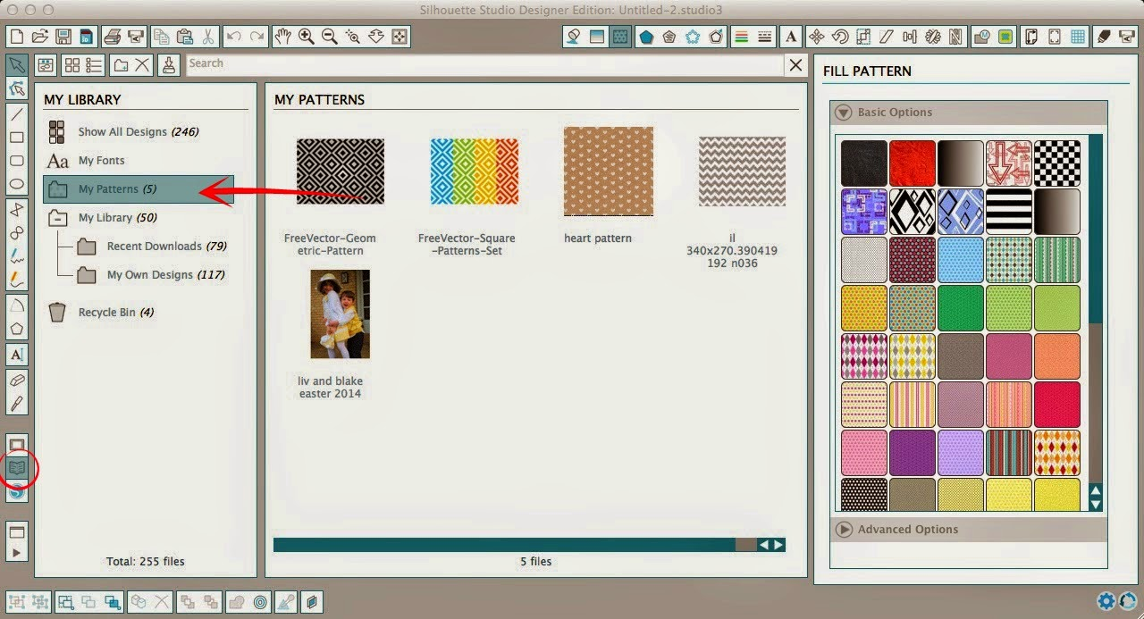 Patterns, adding, Silhouette Studio, easy steps, my pattern folder