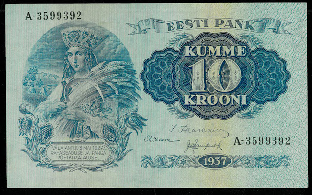 Estonian currency notes Krooni banknotes bill