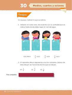Apoyo Primaria Desafíos matemáticos 3ro. Grado Bloque III Lección 30 Medios, cuartos y octavos
