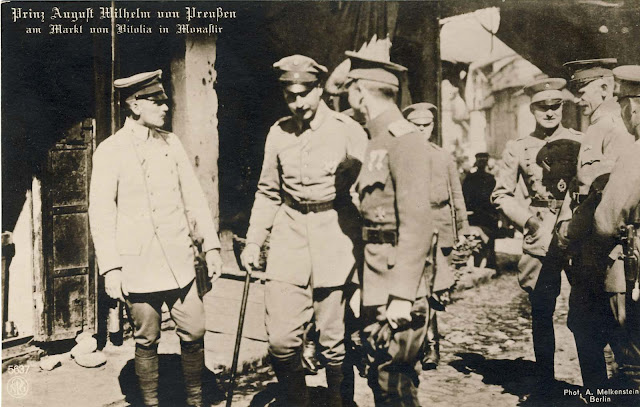 Prince August Wilhelm of Prussia visiting Bitola in 1916. His father was the German Emperor (Kaiser) Wilhelm II who was the last emperor of the German Empire.
