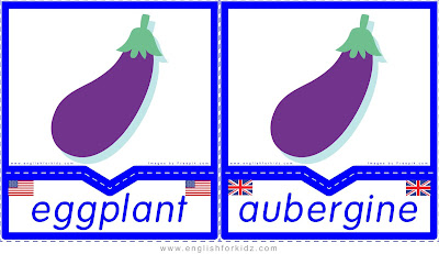 Eggplant, aubergine - English flashcards for the fruits and vegetables topic