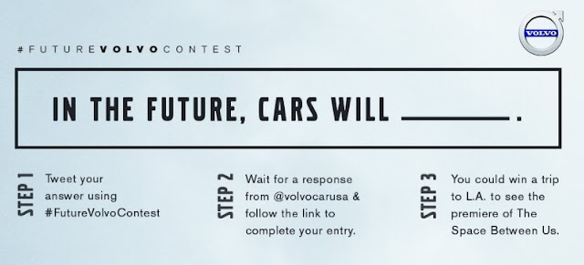 Volvo wants your opinion on where the future of cars is headed. Share and you could win an all-expense-paid trip to the L.A. premiere of The Space Between Us!