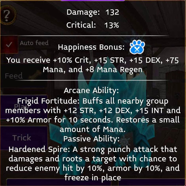 Glacian stats in Arcane legends