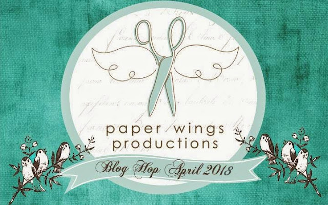 Paper Wings Productions Winged Scissors Logo with Birds and Blog Hop Banner