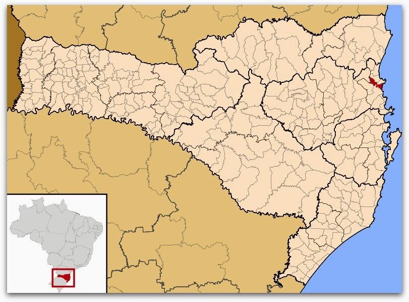 Cidade de Navegantes, no mapa de Santa Catarina