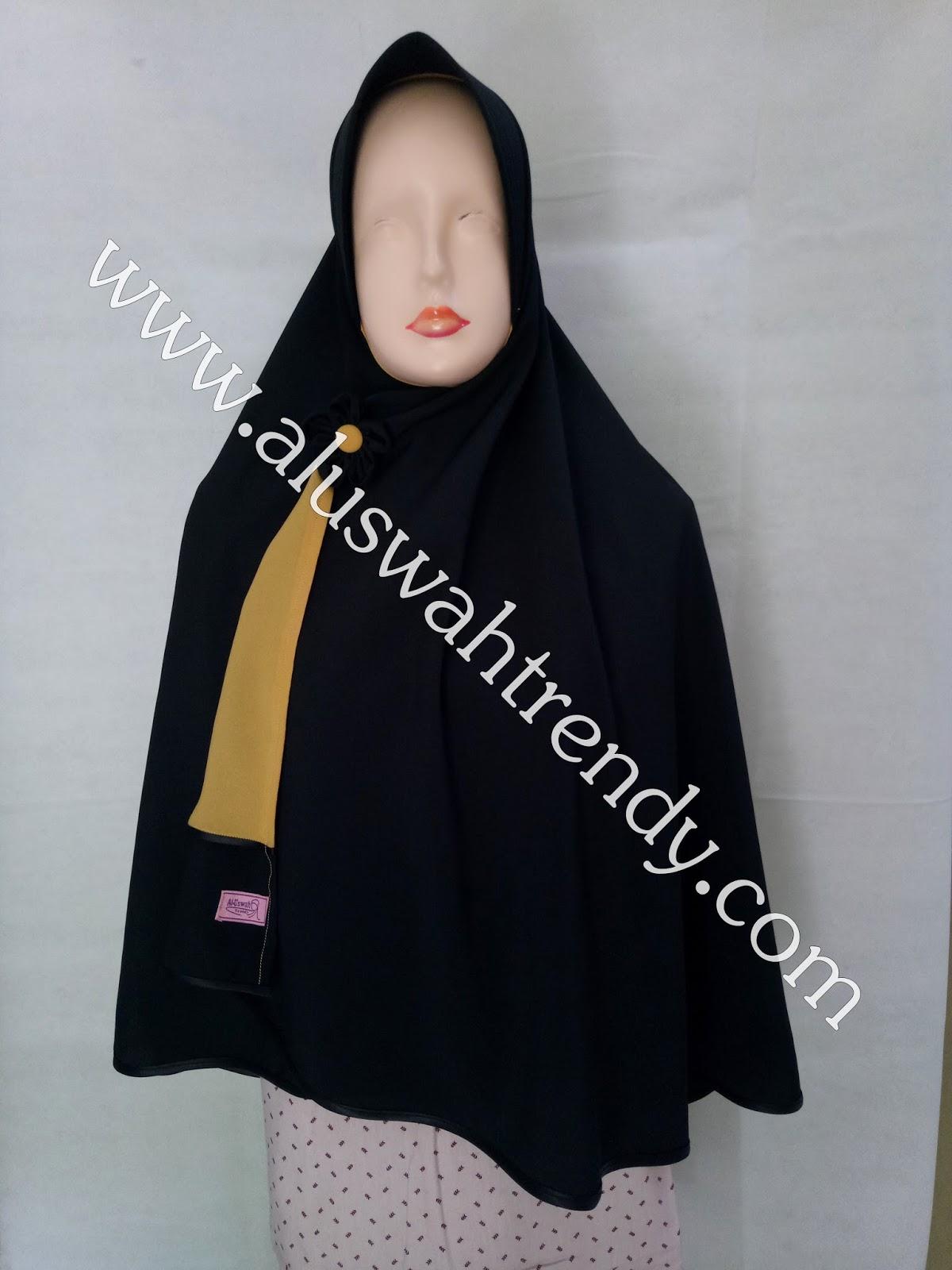 Jilbab Khimar Bolak-Balik Dua Warna Krem Hitam 18