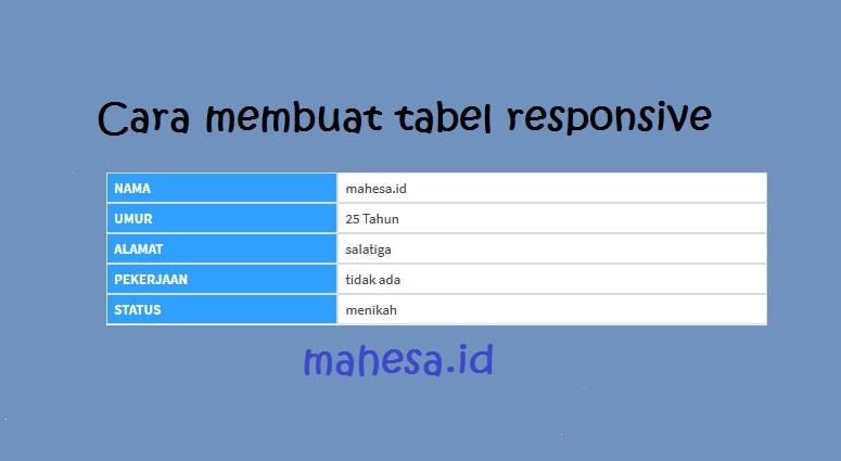 Cara membuat tabel responsive