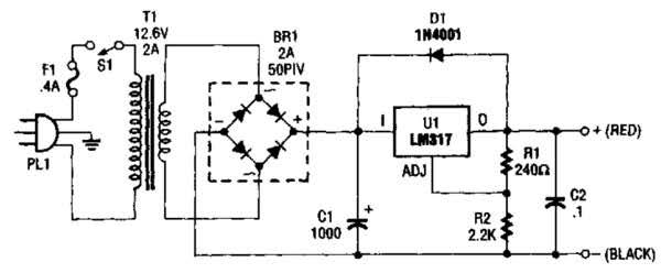Simple Configurable Power Supply Circuit Diagram