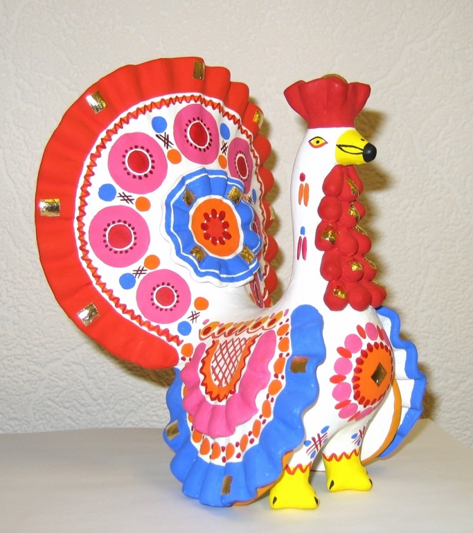 Rooster, clay figurine from Russia, Dymkovo toy