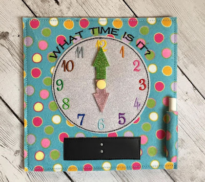 Learn to Tell Time Quiet Book Page from The ADD Hippie