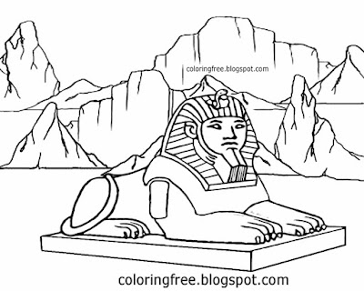 Egyptian printable desert landmark drawing great lion Sphinx of Giza coloring in pages for teenagers