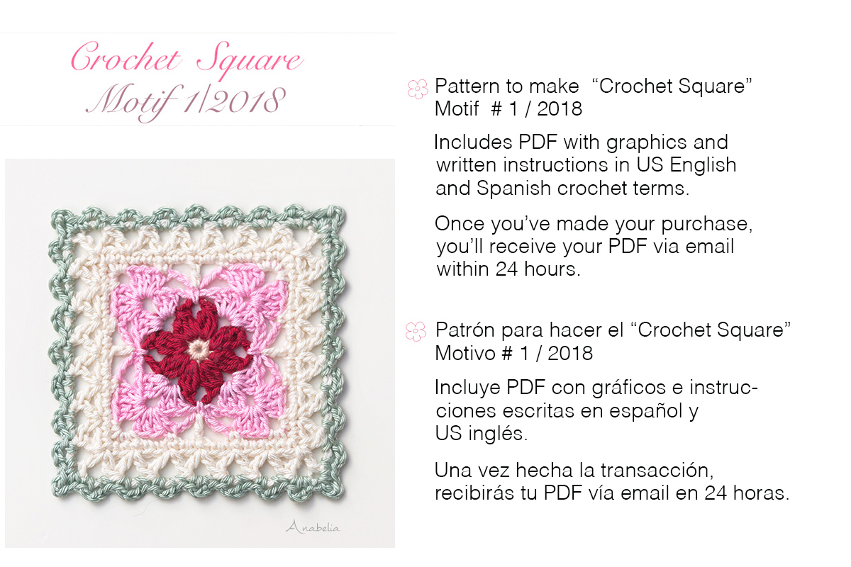 Anabelia craft design: Crochet Square Motif 1_2018 pattern