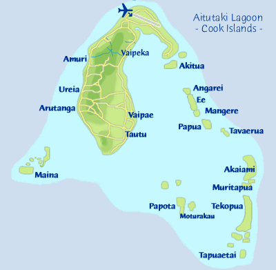 map of aitutaki, cook islands