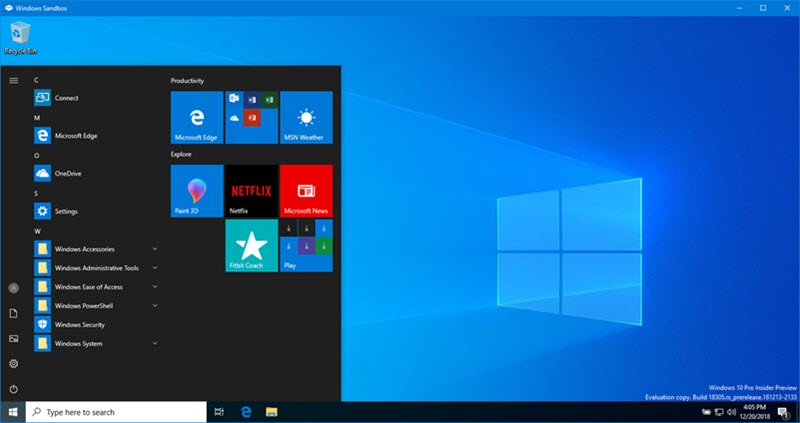 Windows Sandbox is a virtual safe space to run untrusted applications in Windows 10