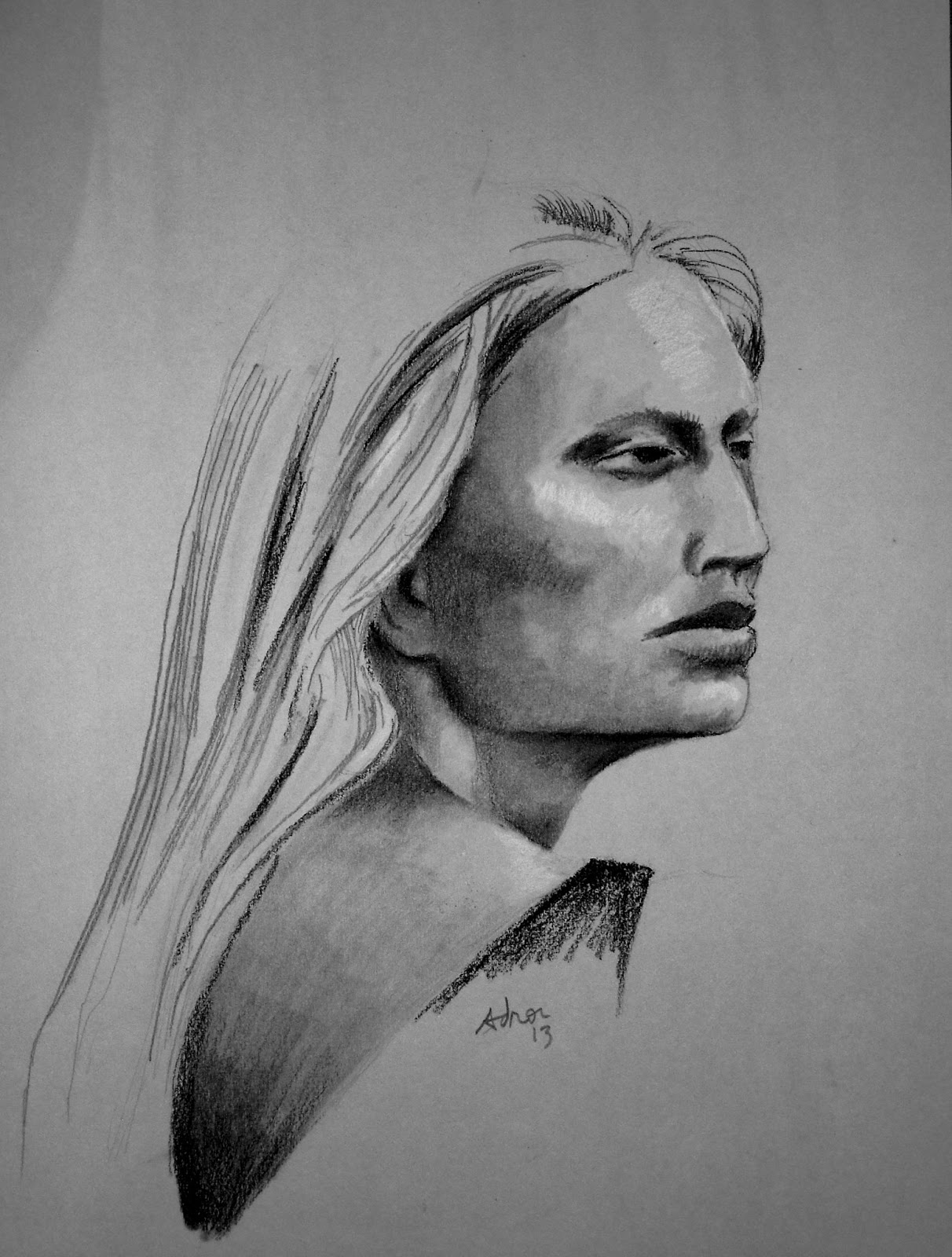 Portraits By Adron Charcoal And Pencil Sketch Of Woman