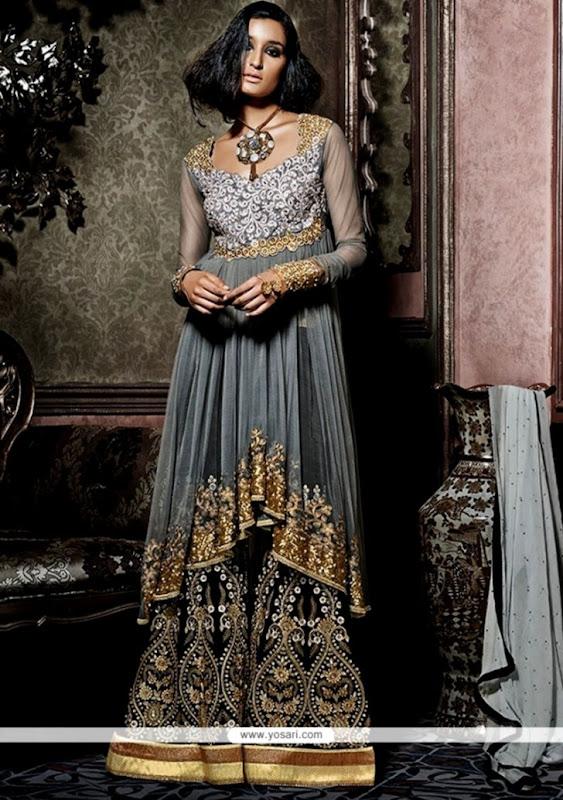 Shop online Fetching Grey Net Designer Palazzo Salwar Kameez