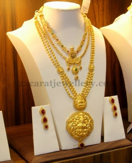 Gold Balls Haram with Ruby Hangings