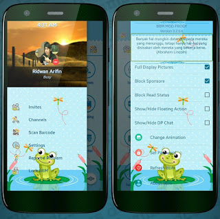BBM MOD APK Froggy Theme New Update v3.2.0.6 Clone Unclone Terbaru