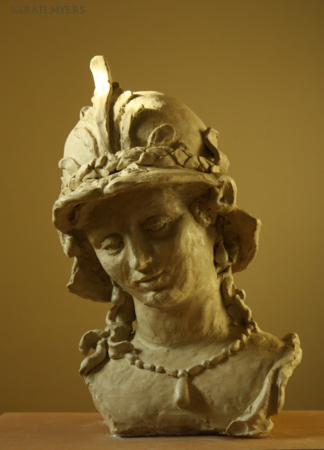sculpture, art, artist, Minerva, Magarita, Trip, Sarah, Myers, woman, head, figurative, classic, life-size, Ferdinand, Bol, ceramic, stoneware, large, big, gentle, beauty, pearls, necklace, earrings, helmet, mythology, Athena, Pallas, eyes, bust, arte, escultura, ceramica, handwork, 3D, plume, grace, serene