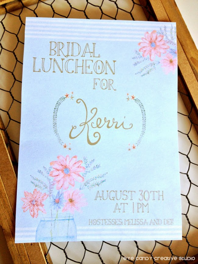 hand illustrated invite, illustrations, watercolor, hand lettered, vintage invite