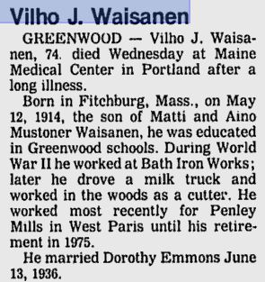 Obituary of Vilho J. Waisanen