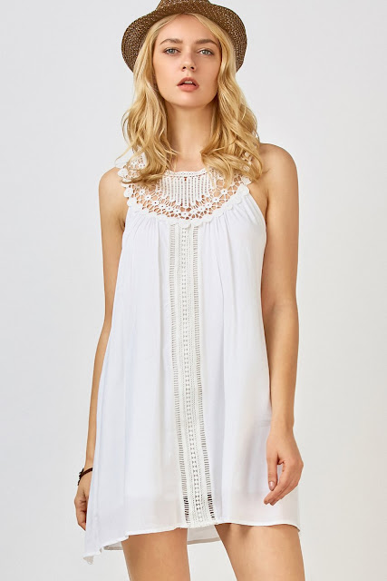 Crochet Yoke Trapeze Summer Dress