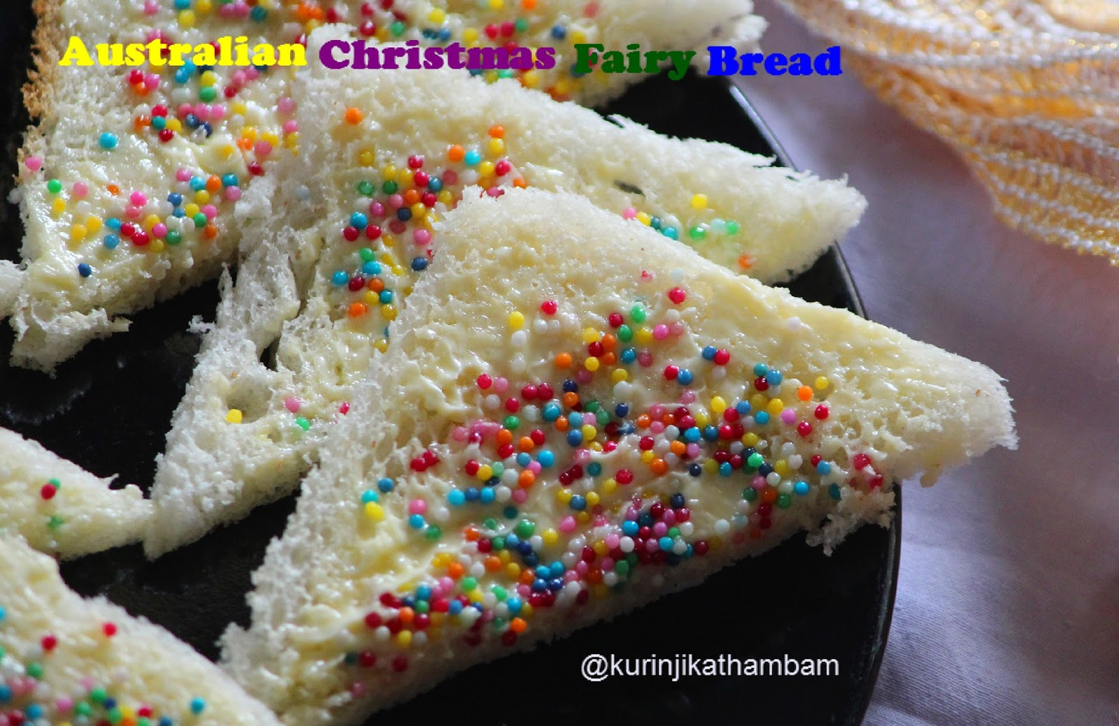 Australian christmas fairy bread bread recipes kurinji kathambam multi color sprinkles are ever often repeated pattern in christmas recipes as it depicts festival mood very well australian forumfinder Image collections