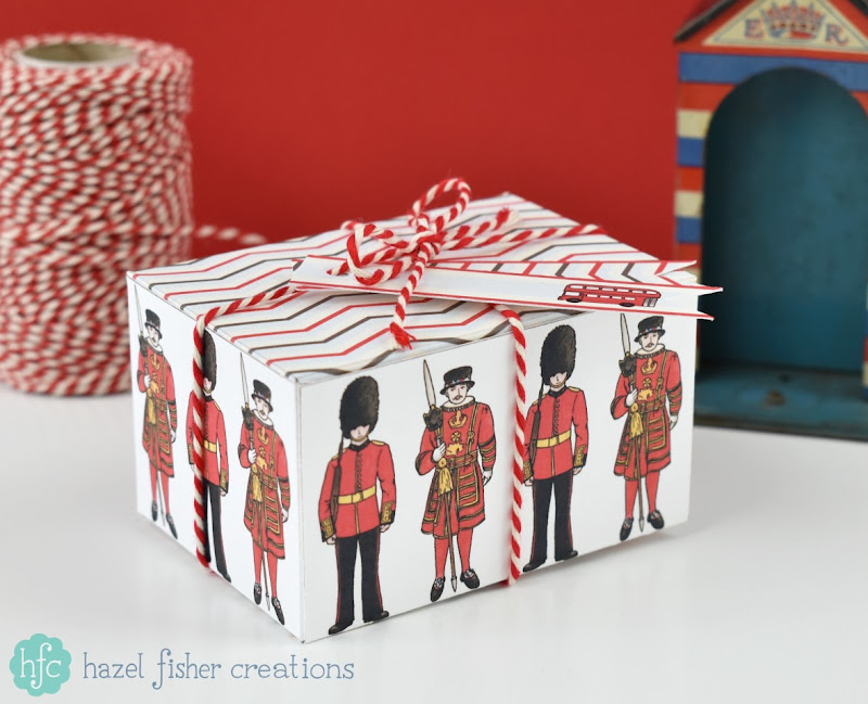 Printable London Calling British soldier gift box, diy template on hfcSupplies Etsy, hazelfishercreations